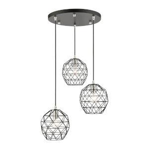 Geometrix Black Three-Light Pendant
