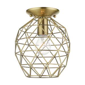 Geometrix Antique Brass One-Light Flush Mount