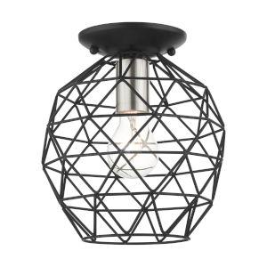 Geometrix Black One-Light Flush Mount