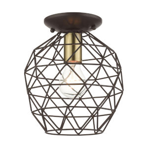 Geometrix Bronze One-Light Flush Mount