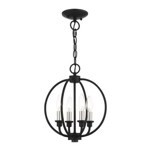 Milania Black and Brushed Nickel Four-Light Convertible Chandelier