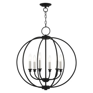 Milania Black and Brushed Nickel Six-Light Chandelier