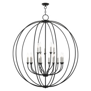 Milania Black and Brushed Nickel 15-Light Chandelier