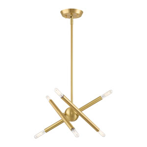Soho Satin Brass Six-Light Chandelier