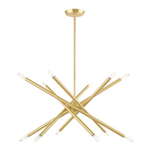 Soho Satin Brass 12-Light Chandelier