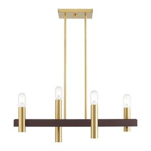 Helsinki Satin Brass and Bronze Four-Light Linear Chandelier