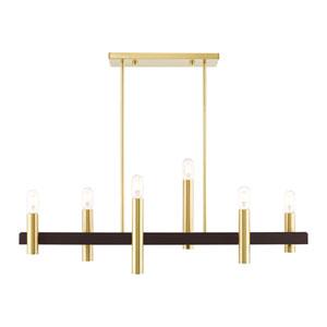 Helsinki Satin Brass and Bronze Six-Light Linear Chandelier