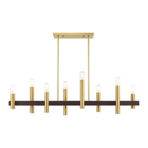 Helsinki Satin Brass and Bronze Eight-Light Linear Chandelier