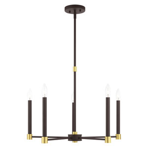 Karlstad Bronze and Satin Brass Five-Light Chandelier