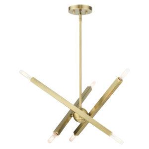 Monaco Antique Brass Six-Light Chandelier