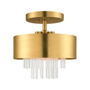Orenburg Natural Brass Three-Light Semi Flush