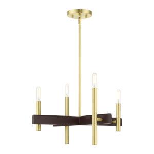 Denmark Satin Brass Four-Light Chandelier