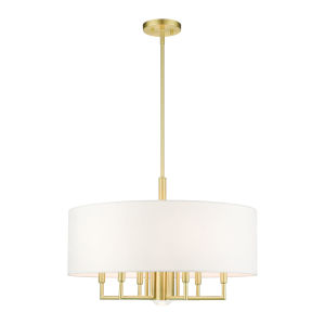 Meridian Satin Brass Seven-Light Chandelier