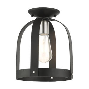 Stoneridge Textured Black One-Light Petite Semi-Flush Mount