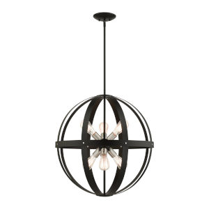 Stoneridge Textured Black Six-Light Pendant