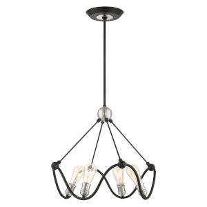 Archer Textured Black with Brushed Nickel Accents Four-Light Chandelier