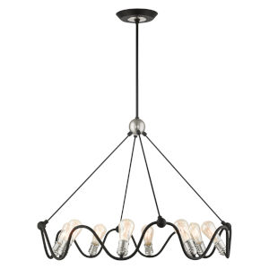 Archer Textured Black with Brushed Nickel Accents Eight-Light Chandelier