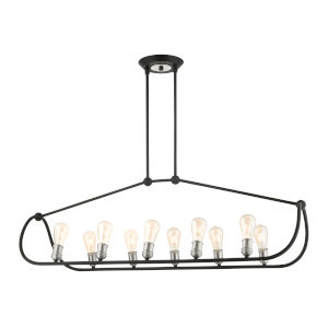 Archer Textured Black with Brushed Nickel Accents 10-Light Island Chandelier