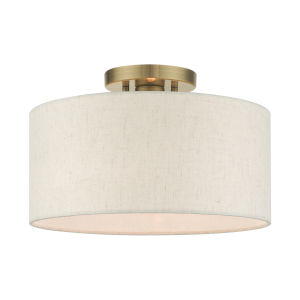 Blossom Antique Brass One-Light Semi-Flush Mount