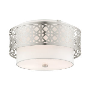 Calinda Brushed Nickel Three-Light Semi-Flush Mount