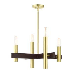 Helsinki Satin Brass Four-Light Chandelier