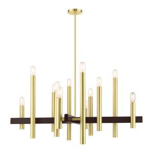Helsinki Satin Brass 12-Light Chandelier