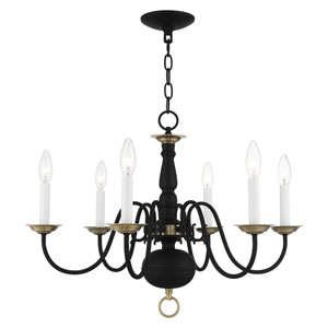 Williamsburg Black and Antique Brass Six-Light Chandelier