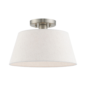 Belclaire Brushed Nickel 13-Inch One-Light Ceiling Mount with Hand Crafted Oatmeal Hardback Shade