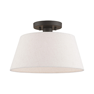 Belclaire English Bronze 13-Inch One-Light Ceiling Mount with Hand Crafted Oatmeal Hardback Shade
