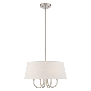 Belclaire Brushed Nickel 18-Inch Four-Light Pendant Chandelier with Hand Crafted Oatmeal Hardback Shade