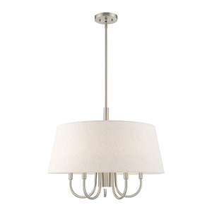 Belclaire Brushed Nickel 24-Inch Six-Light Pendant Chandelier with Hand Crafted Oatmeal Hardback Shade