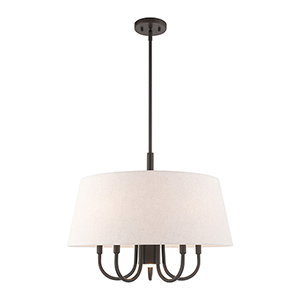Belclaire English Bronze 24-Inch Six-Light Pendant Chandelier with Hand Crafted Oatmeal Hardback Shade