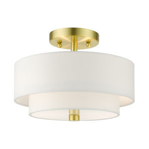 Meridian Satin Brass 11-Inch Two-Light Semi-Flush Mount