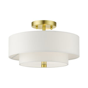 Meridian Satin Brass Two-Light Semi-Flush Mount