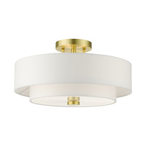 Meridian Satin Brass Three-Light Semi-Flush Mount