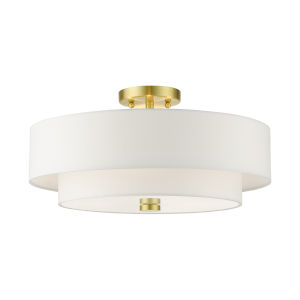Meridian Satin Brass 18-Inch Four-Light Semi-Flush Mount