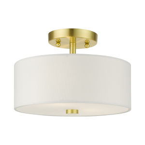 Meridian Satin Brass Eight-Inch Two-Light Semi-Flush Mount