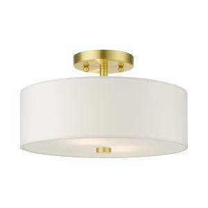 Meridian Satin Brass 13-Inch Two-Light Semi-Flush Mount