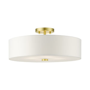 Meridian Satin Brass Four-Light Semi-Flush Mount