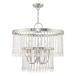 Elizabeth Brushed Nickel 24-Inch Five-Light Pendant Chandelier with Clear Crystals