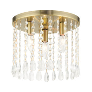 Elizabeth Antique Brass Three-Light Flush Mount