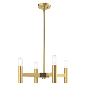 Copenhagen Satin Brass 20-Inch Four-Light Mini Chandelier