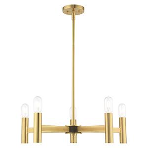 Copenhagen Satin Brass 25-Inch Five-Light Chandelier