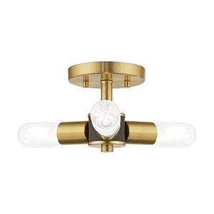 Copenhagen Satin Brass 14-Inch Three-Light Ceiling Mount