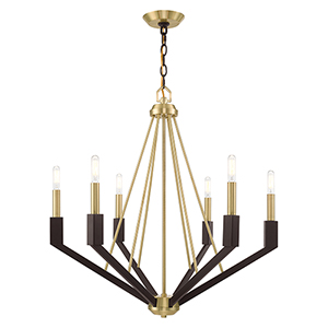 Beckett Satin Brass and Bronze Six-Light Chandelier