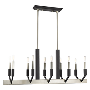 Beckett Brushed Nickel and Black Ten-Light Linear Chandelier