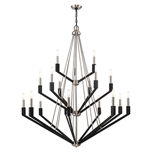 Beckett Brushed Nickel and Black 44-Inch 18-Light Foyer Chandelier