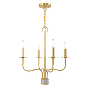 Lisbon Satin Brass Four-Light Mini Chandelier