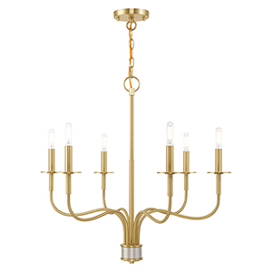 Lisbon Satin Brass Six-Light Chandelier