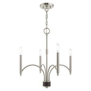 Wisteria Brushed Nickel 20-Inch Four-Light Mini Chandelier